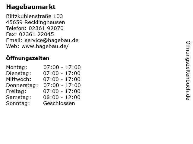 Hagebaumarkt in Recklinghausen: Adresse und Öffnungszeiten