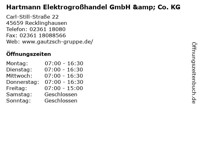 Hartmann Elektrogroßhandel GmbH & Co. KG in Recklinghausen: Adresse und Öffnungszeiten