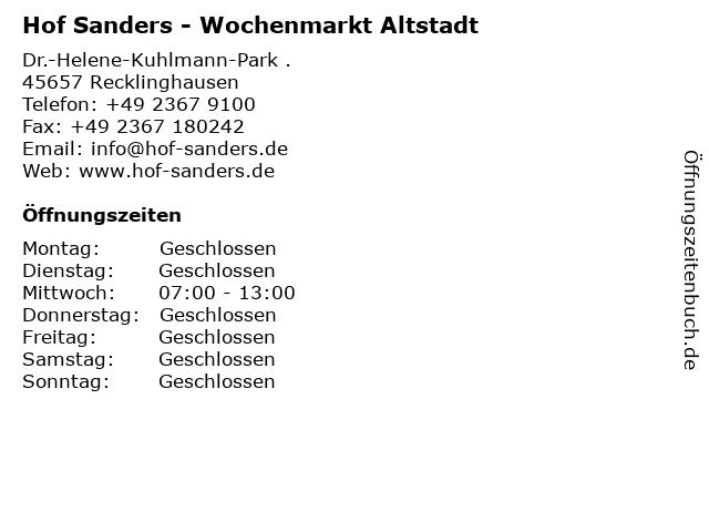 Hof Sanders - Wochenmarkt Altstadt in Recklinghausen: Adresse und Öffnungszeiten