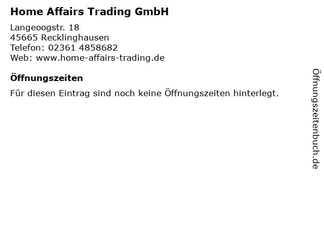 Home Affairs Trading GmbH in Recklinghausen: Adresse und Öffnungszeiten