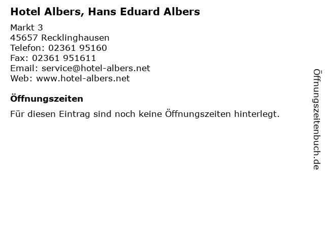 Hotel Albers, Hans Eduard Albers in Recklinghausen: Adresse und Öffnungszeiten