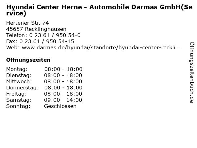 Hyundai Center Herne - Automobile Darmas GmbH(Service) in Recklinghausen: Adresse und Öffnungszeiten