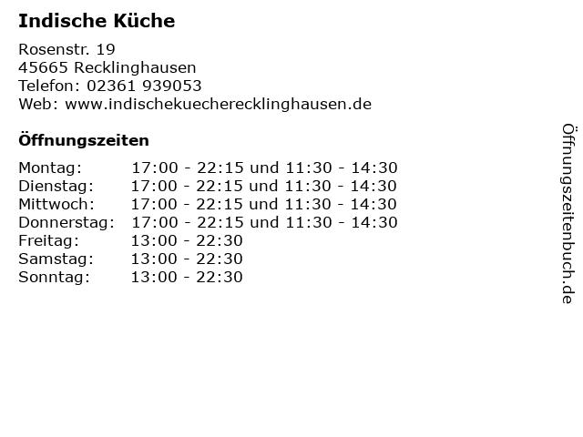 Indische Küche in Recklinghausen: Adresse und Öffnungszeiten