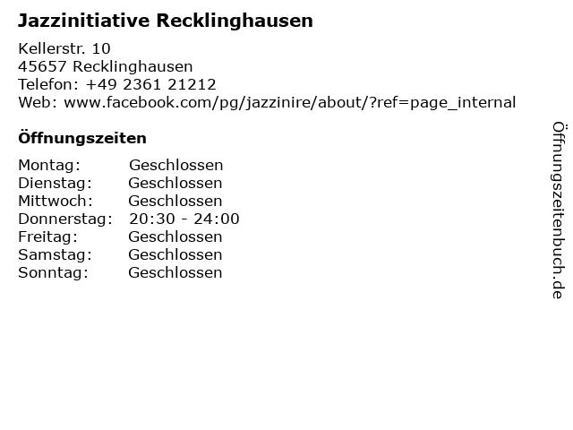 Jazzinitiative Recklinghausen in Recklinghausen: Adresse und Öffnungszeiten