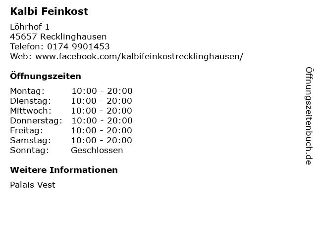 Kalbi Feinkost in Recklinghausen: Adresse und Öffnungszeiten