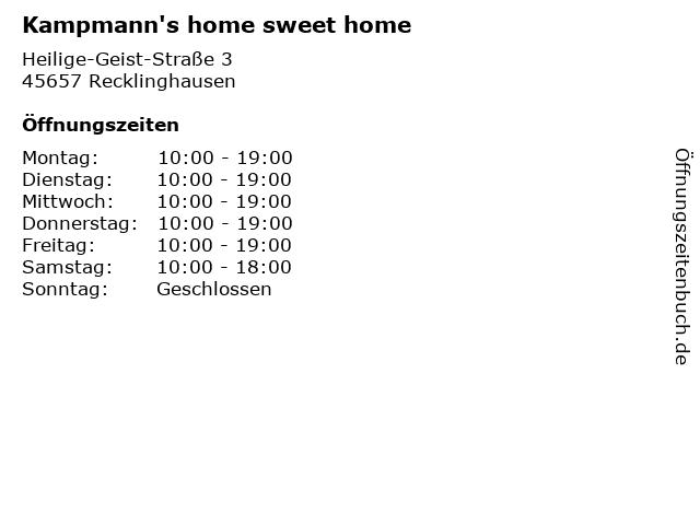 Kampmann's home sweet home in Recklinghausen: Adresse und Öffnungszeiten