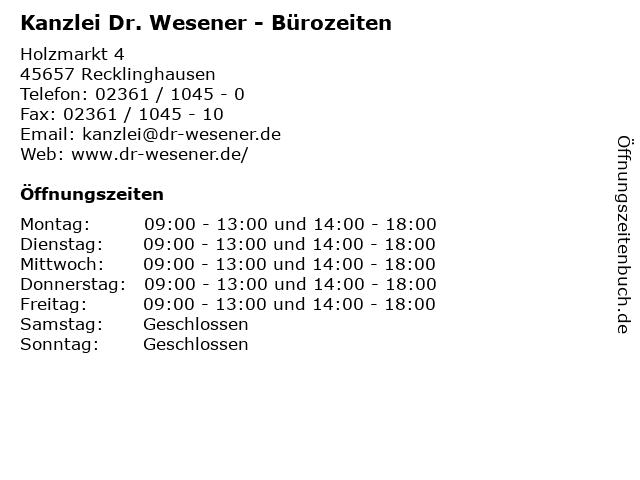 Kanzlei Dr. Wesener - Bürozeiten in Recklinghausen: Adresse und Öffnungszeiten
