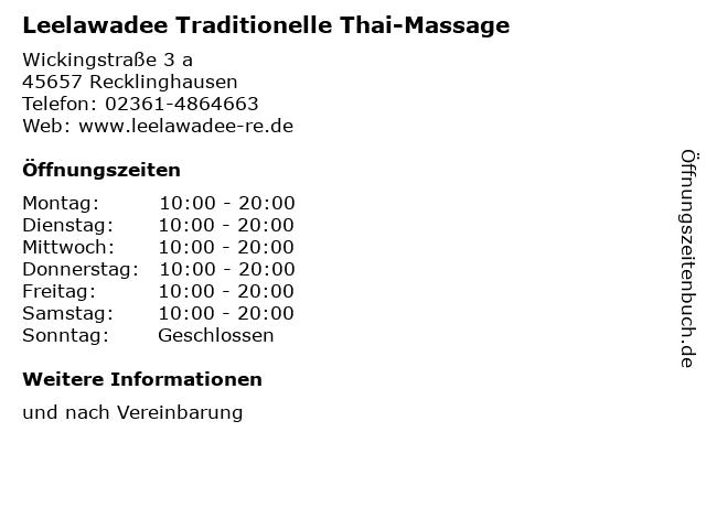 Leelawadee Traditionelle Thai-Massage in Recklinghausen: Adresse und Öffnungszeiten