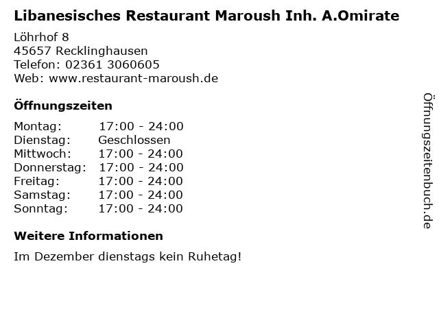 Libanesisches Restaurant Maroush Inh. A.Omirate in Recklinghausen: Adresse und Öffnungszeiten