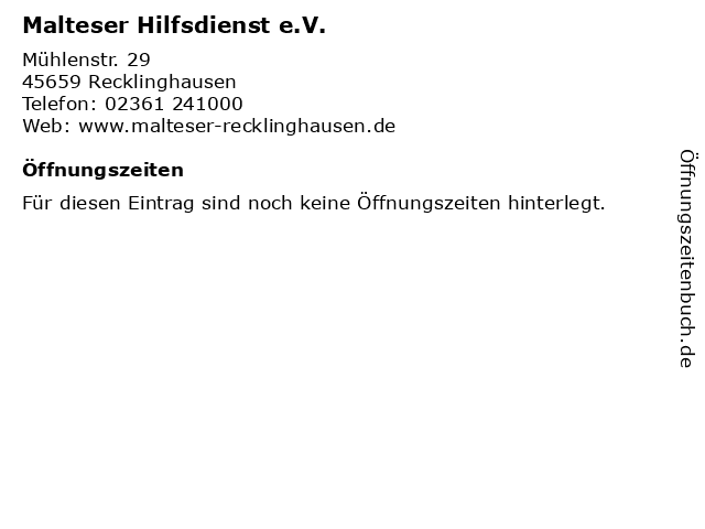 Malteser Hilfsdienst e.V. in Recklinghausen: Adresse und Öffnungszeiten