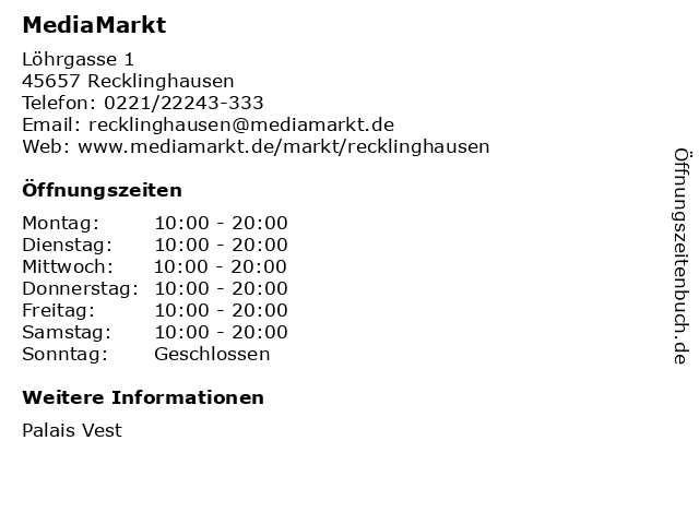 MediaMarkt in Recklinghausen: Adresse und Öffnungszeiten