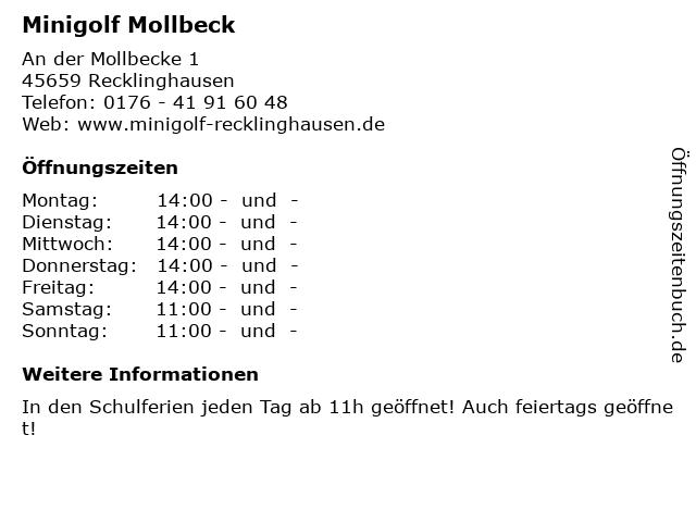 Minigolf Mollbeck in Recklinghausen: Adresse und Öffnungszeiten