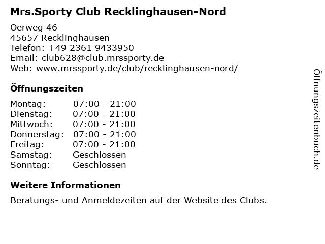 Mrs.Sporty Club Recklinghausen-Nord in Recklinghausen: Adresse und Öffnungszeiten