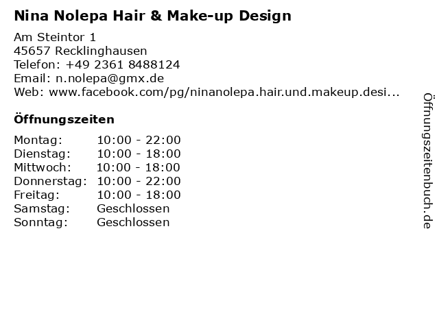 Nina Nolepa Hair & Make-up Design in Recklinghausen: Adresse und Öffnungszeiten