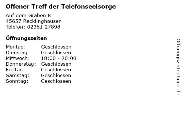 Offener Treff der Telefonseelsorge in Recklinghausen: Adresse und Öffnungszeiten