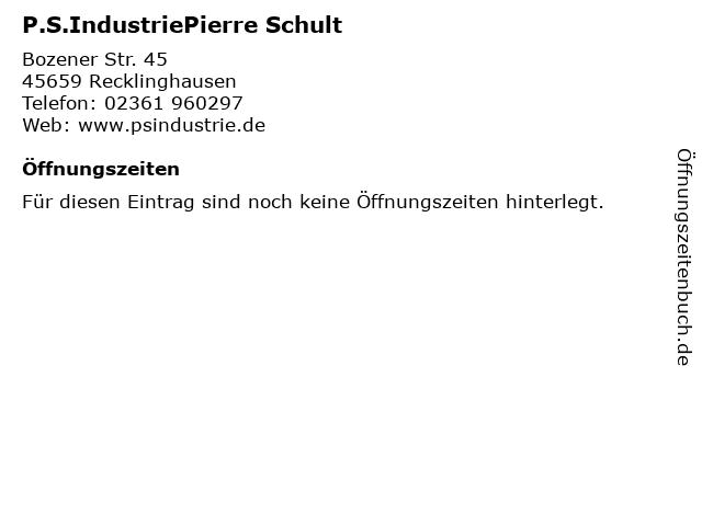 P.S.IndustriePierre Schult in Recklinghausen: Adresse und Öffnungszeiten