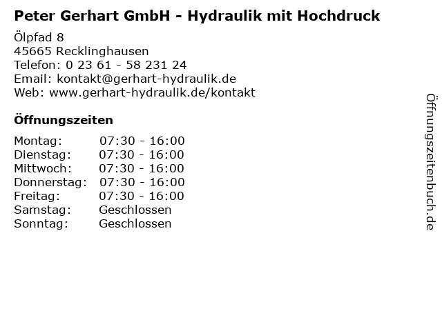 Peter Gerhart GmbH - Hydraulik mit Hochdruck in Recklinghausen: Adresse und Öffnungszeiten