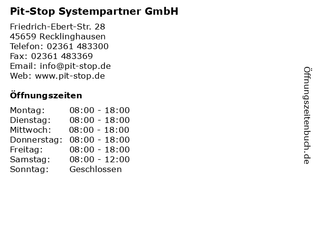 Pit-Stop Systempartner GmbH in Recklinghausen: Adresse und Öffnungszeiten