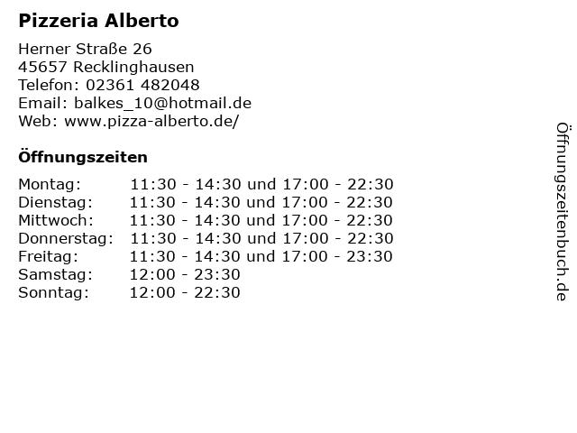 Pizzeria Alberto in Recklinghausen: Adresse und Öffnungszeiten