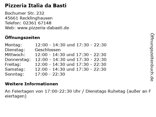 Pizzeria Italia da Basti in Recklinghausen: Adresse und Öffnungszeiten