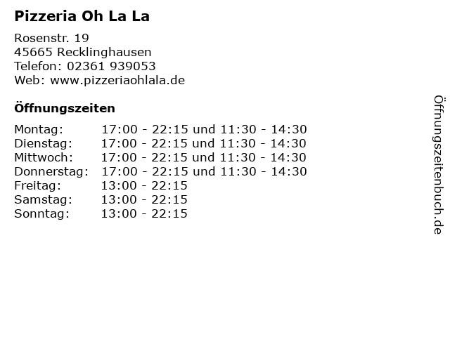 Pizzeria Oh La La in Recklinghausen: Adresse und Öffnungszeiten