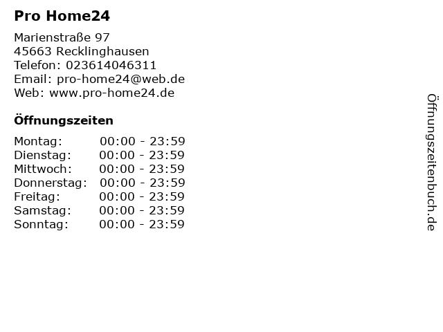 ᐅ öffnungszeiten Pro Home24 Marienstraße 97 In Recklinghausen