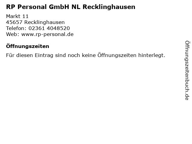 RP Personal GmbH NL Recklinghausen in Recklinghausen: Adresse und Öffnungszeiten