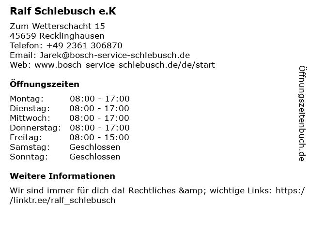 Ralf Schlebusch e.K in Recklinghausen: Adresse und Öffnungszeiten