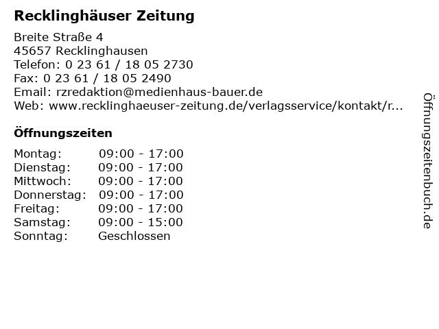 Recklinghäuser Zeitung in Recklinghausen: Adresse und Öffnungszeiten
