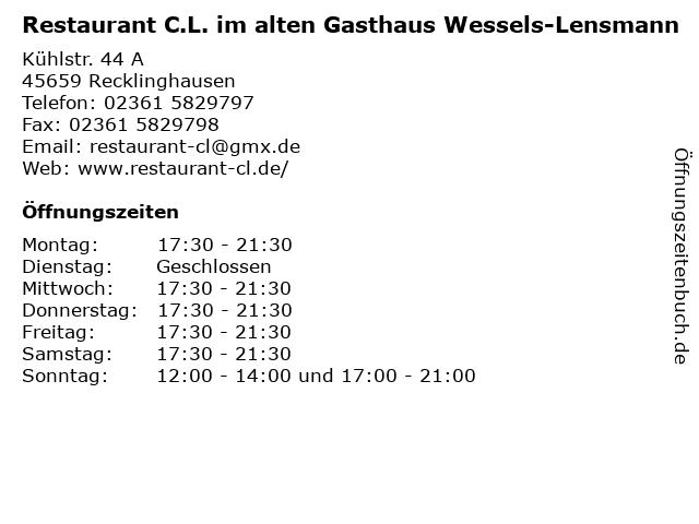 Restaurant C.L. im alten Gasthaus Wessels-Lensmann in Recklinghausen: Adresse und Öffnungszeiten