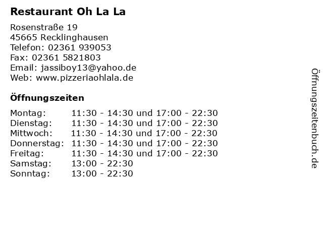 Restaurant Oh La La in Recklinghausen: Adresse und Öffnungszeiten