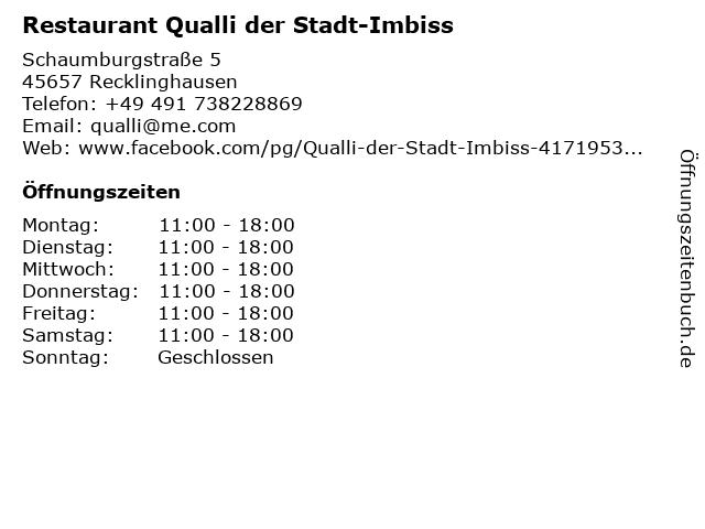 Restaurant Qualli der Stadt-Imbiss in Recklinghausen: Adresse und Öffnungszeiten