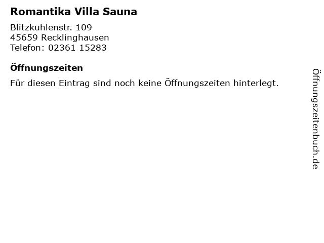 Romantika Villa Sauna in Recklinghausen: Adresse und Öffnungszeiten