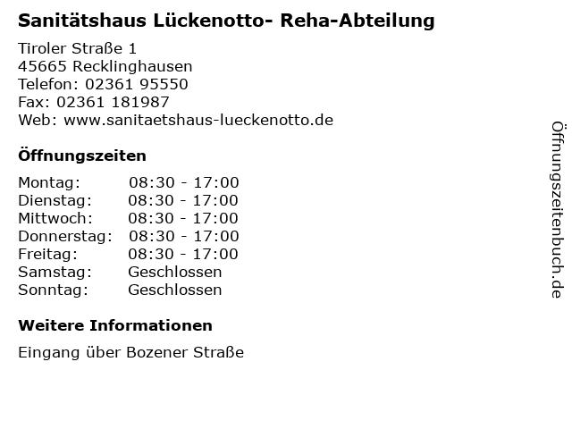 Sanitätshaus Lückenotto- Reha-Abteilung in Recklinghausen: Adresse und Öffnungszeiten
