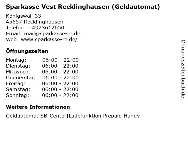 Sparkasse Vest Recklinghausen - (Geldautomat Hauptstelle) in Recklinghausen: Adresse und Öffnungszeiten