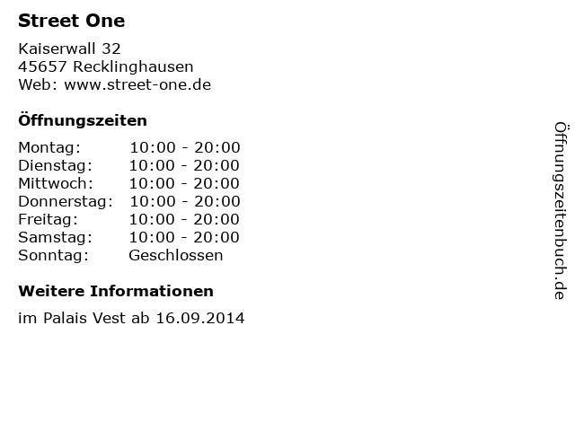 Street One in Recklinghausen: Adresse und Öffnungszeiten