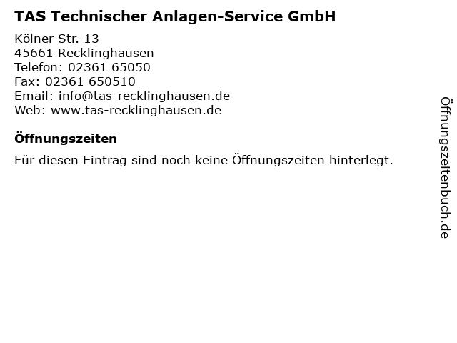 TAS Technischer Anlagen-Service GmbH in Recklinghausen: Adresse und Öffnungszeiten