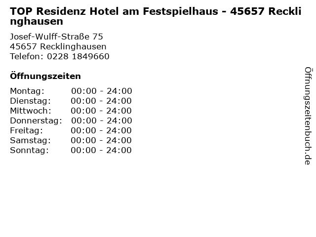 TOP Residenz Hotel am Festspielhaus - 45657 Recklinghausen in Recklinghausen: Adresse und Öffnungszeiten