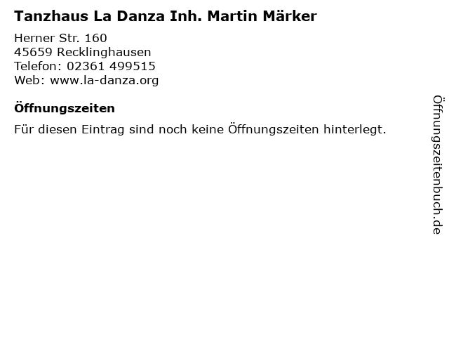 Tanzhaus La Danza Inh. Martin Märker in Recklinghausen: Adresse und Öffnungszeiten