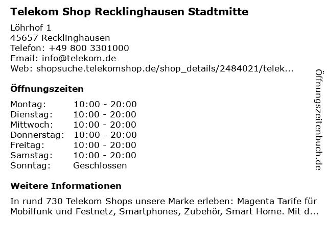 Telekom Shop Recklinghausen Stadtmitte in Recklinghausen: Adresse und Öffnungszeiten