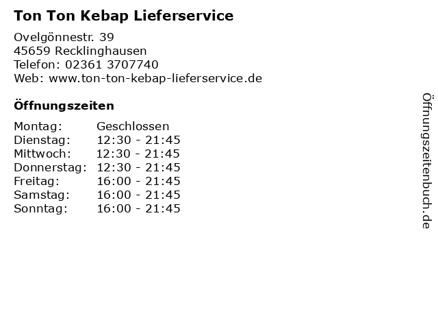 Ton Ton Kebap Lieferservice in Recklinghausen: Adresse und Öffnungszeiten