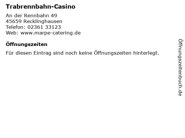 Trabrennbahn-Casino in Recklinghausen: Adresse und Öffnungszeiten