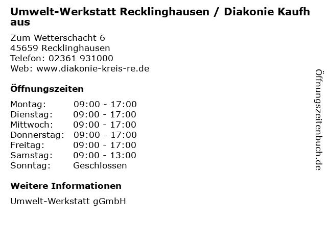 Umwelt-Werkstatt Recklinghausen / Diakonie Kaufhaus in Recklinghausen: Adresse und Öffnungszeiten