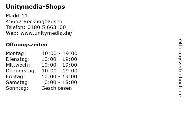 Unitymedia-Shops in Recklinghausen: Adresse und Öffnungszeiten