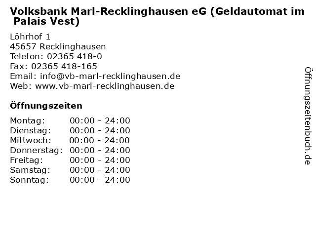 Volksbank Marl-Recklinghausen eG Geldautomat im Palais Vest in Recklinghausen: Adresse und Öffnungszeiten