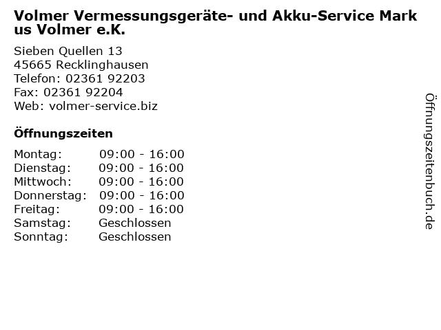 Volmer Vermessungsgeräte- und Akku-Service Markus Volmer e.K. in Recklinghausen: Adresse und Öffnungszeiten