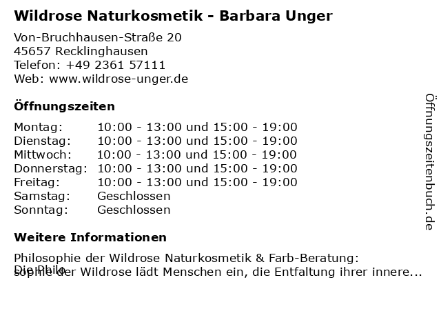 Wildrose Naturkosmetik - Barbara Unger in Recklinghausen: Adresse und Öffnungszeiten