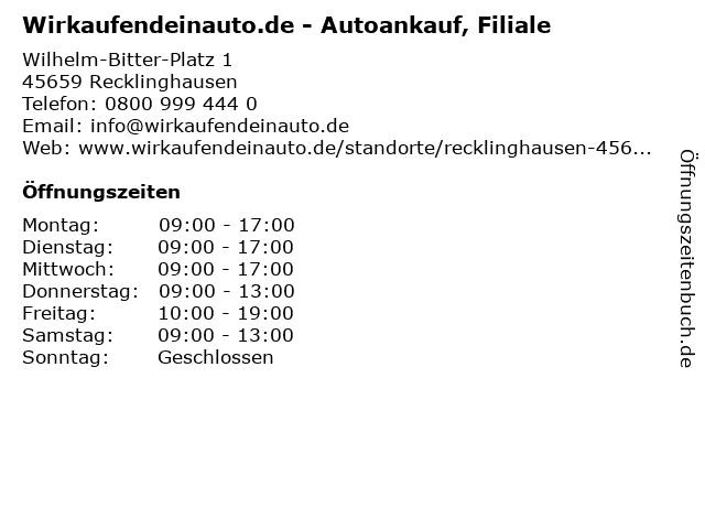Wirkaufendeinauto.de - Autoankauf, Filiale in Recklinghausen: Adresse und Öffnungszeiten