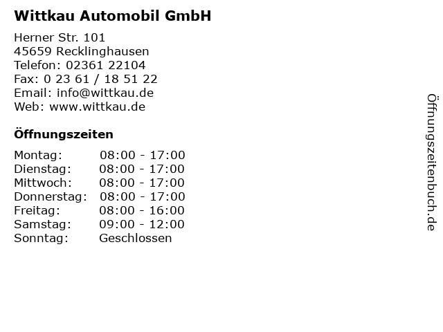 Wittkau Automobil GmbH in Recklinghausen: Adresse und Öffnungszeiten