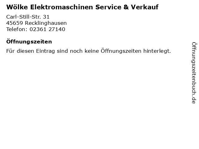 Wölke Elektromaschinen Service & Verkauf in Recklinghausen: Adresse und Öffnungszeiten
